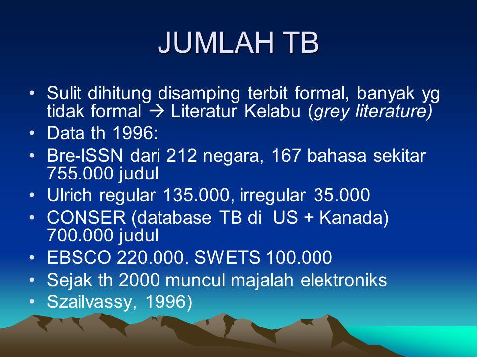 JUMLAH TB Sulit dihitung disamping terbit formal, banyak yg tidak formal  Literatur Kelabu (grey literature)