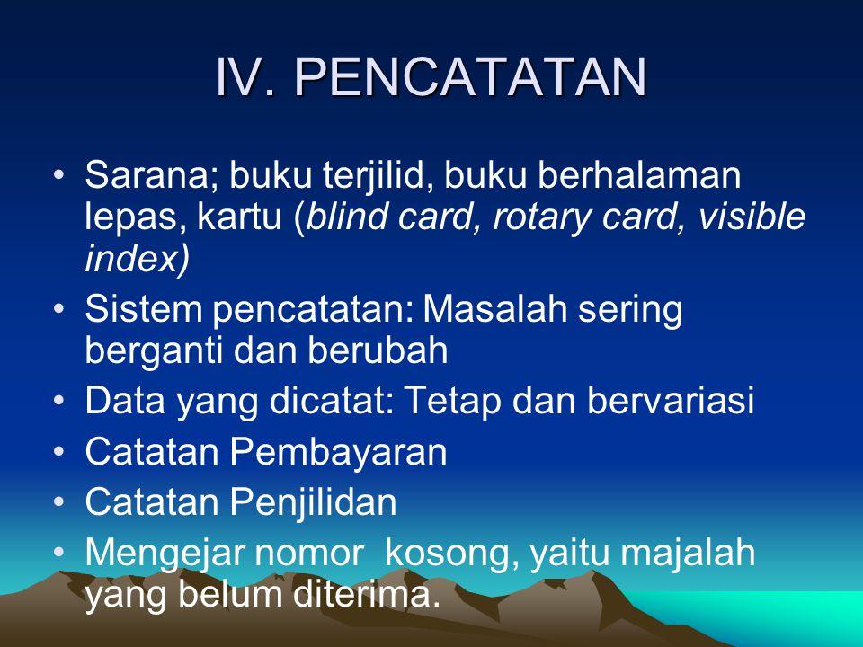 IV. PENCATATAN Sarana; buku terjilid, buku berhalaman lepas, kartu (blind card, rotary card, visible index)