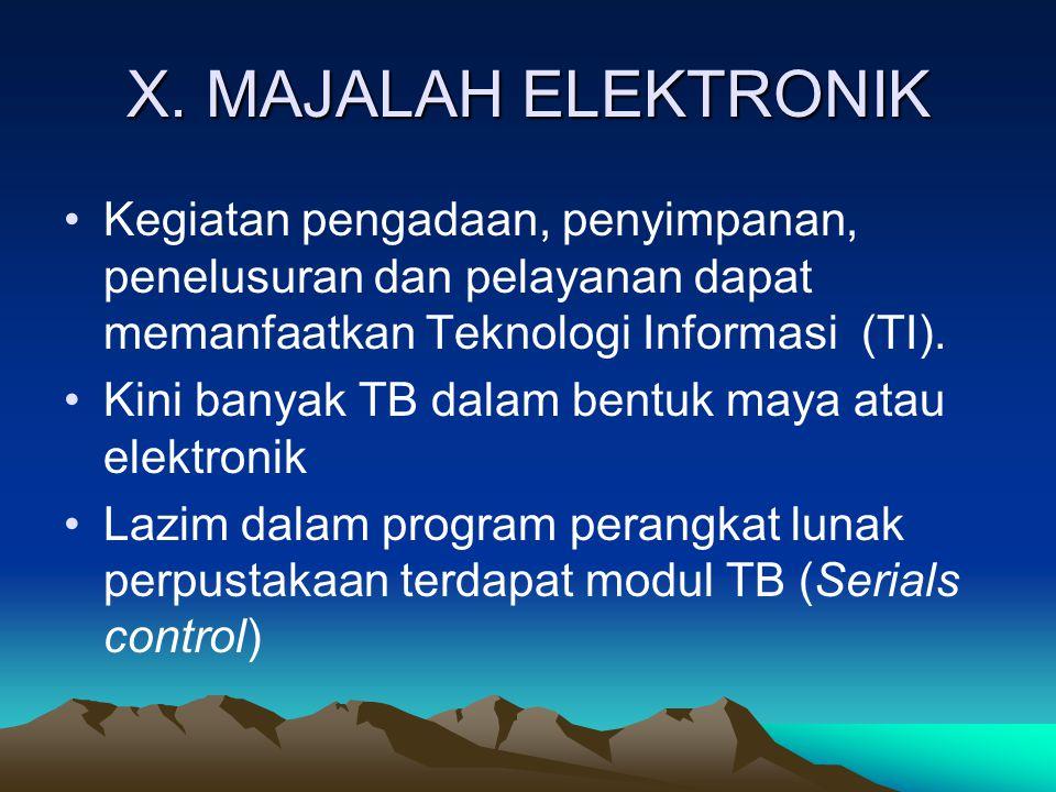 X. MAJALAH ELEKTRONIK Kegiatan pengadaan, penyimpanan, penelusuran dan pelayanan dapat memanfaatkan Teknologi Informasi (TI).