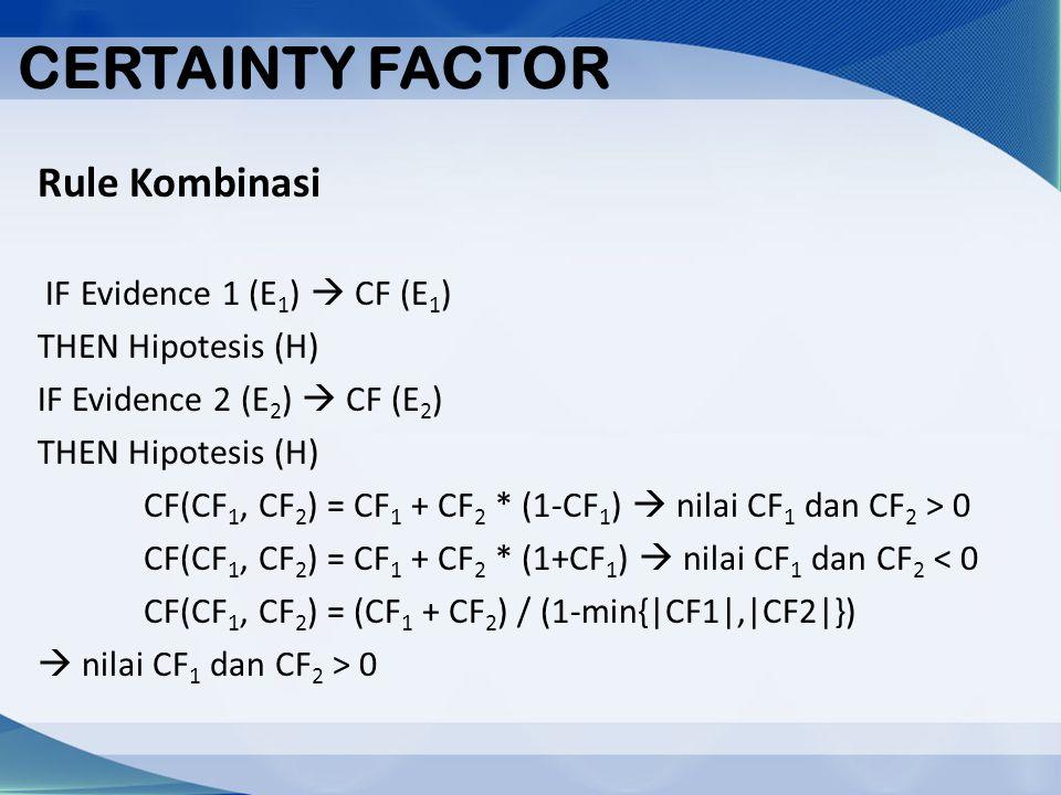 CERTAINTY FACTOR Rule Kombinasi IF Evidence 1 (E1)  CF (E1)