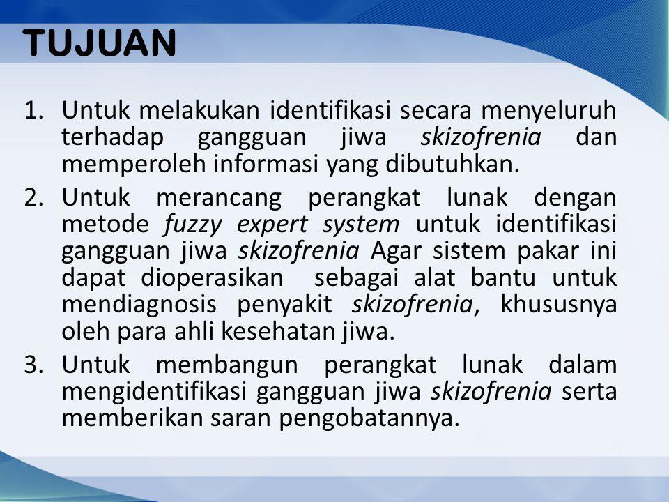 TUJUAN Untuk melakukan identifikasi secara menyeluruh terhadap gangguan jiwa skizofrenia dan memperoleh informasi yang dibutuhkan.