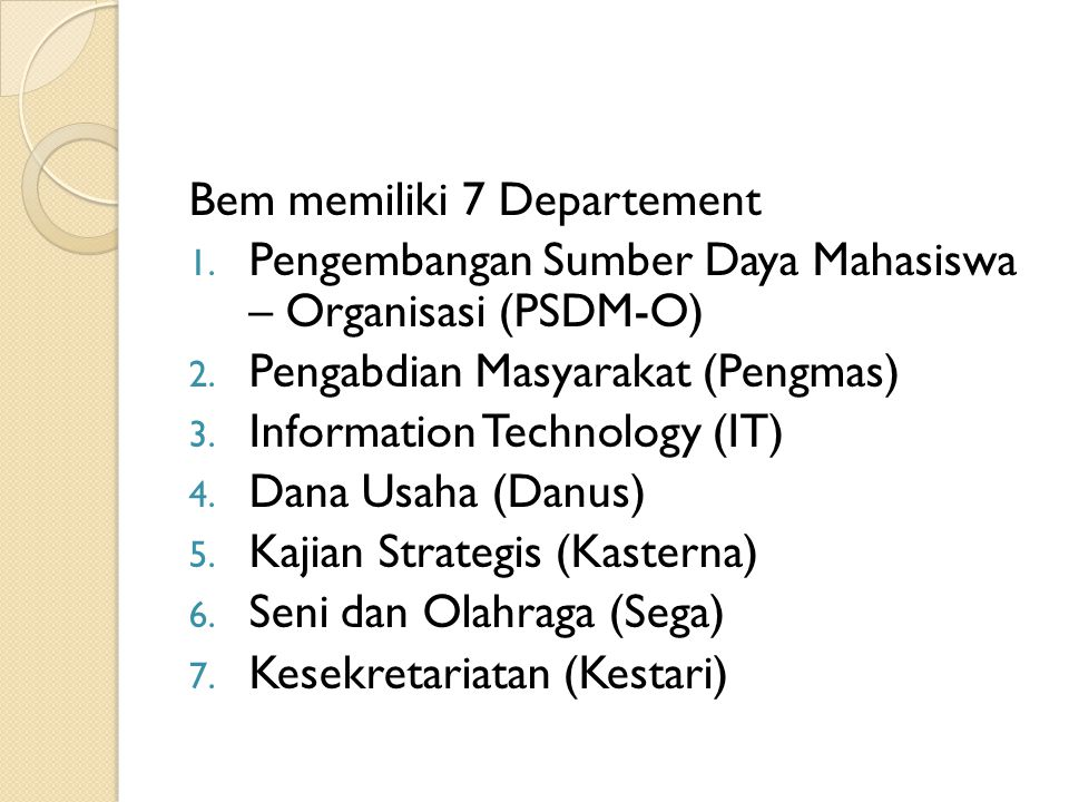 Bem memiliki 7 Departement