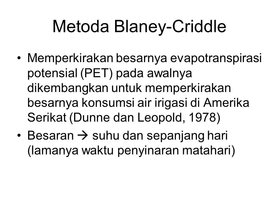 Metoda Blaney-Criddle