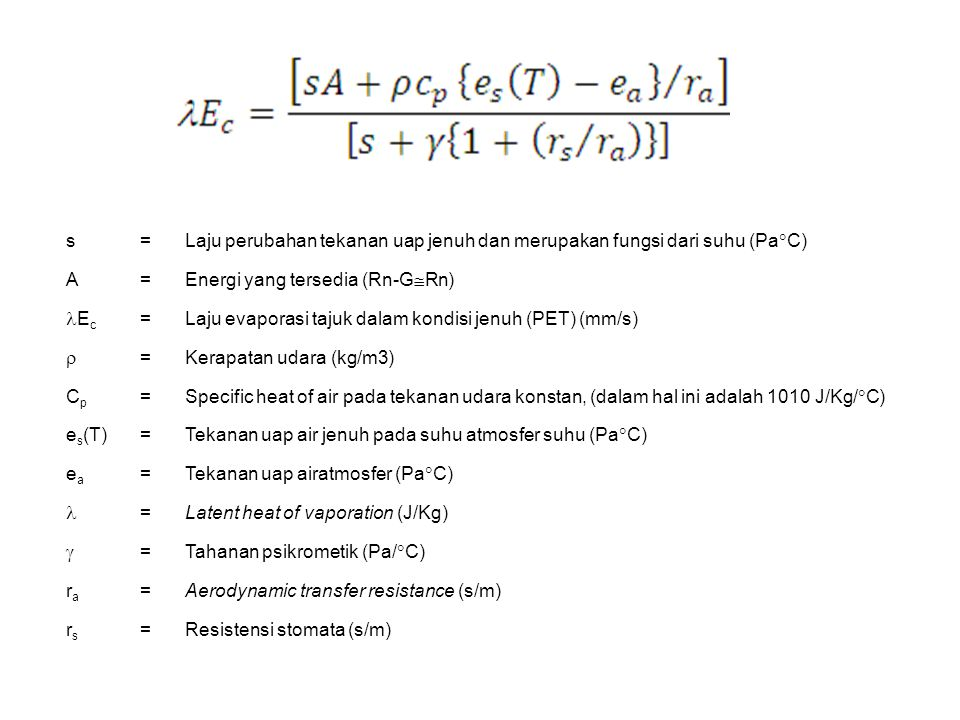 s = Laju perubahan tekanan uap jenuh dan merupakan fungsi dari suhu (PaC) A. Energi yang tersedia (Rn-GRn)