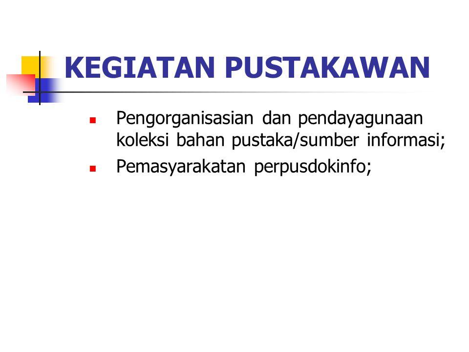 KEGIATAN PUSTAKAWAN Pengorganisasian dan pendayagunaan koleksi bahan pustaka/sumber informasi; Pemasyarakatan perpusdokinfo;