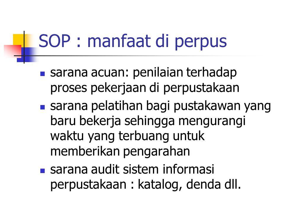 SOP : manfaat di perpus sarana acuan: penilaian terhadap proses pekerjaan di perpustakaan.