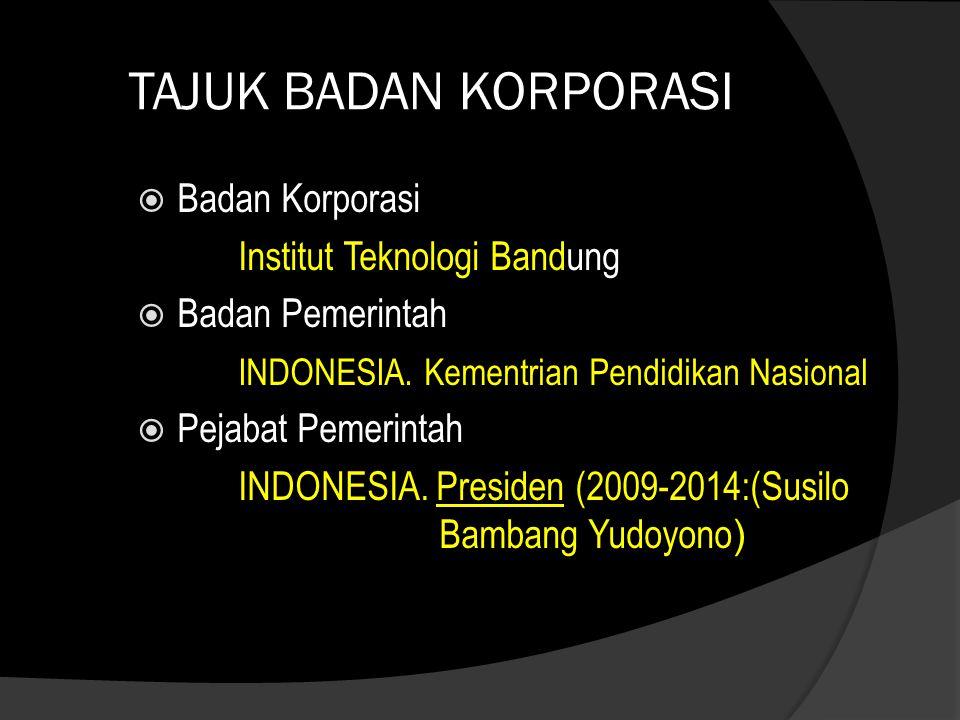 TAJUK BADAN KORPORASI Badan Korporasi Institut Teknologi Bandung