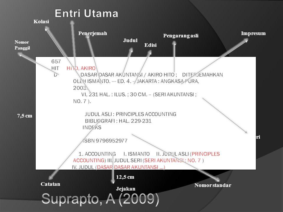 Suprapto, A (2009) Entri Utama Kolasi Penerjemah Impresum
