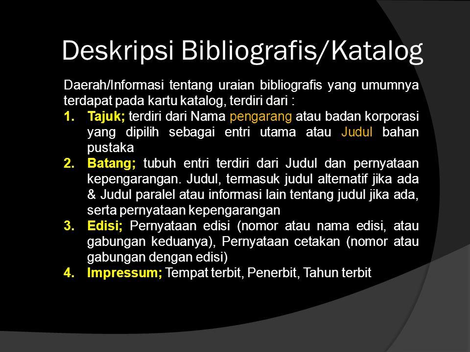 Deskripsi Bibliografis/Katalog