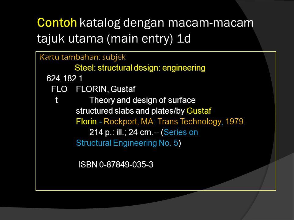 Contoh katalog dengan macam-macam tajuk utama (main entry) 1d