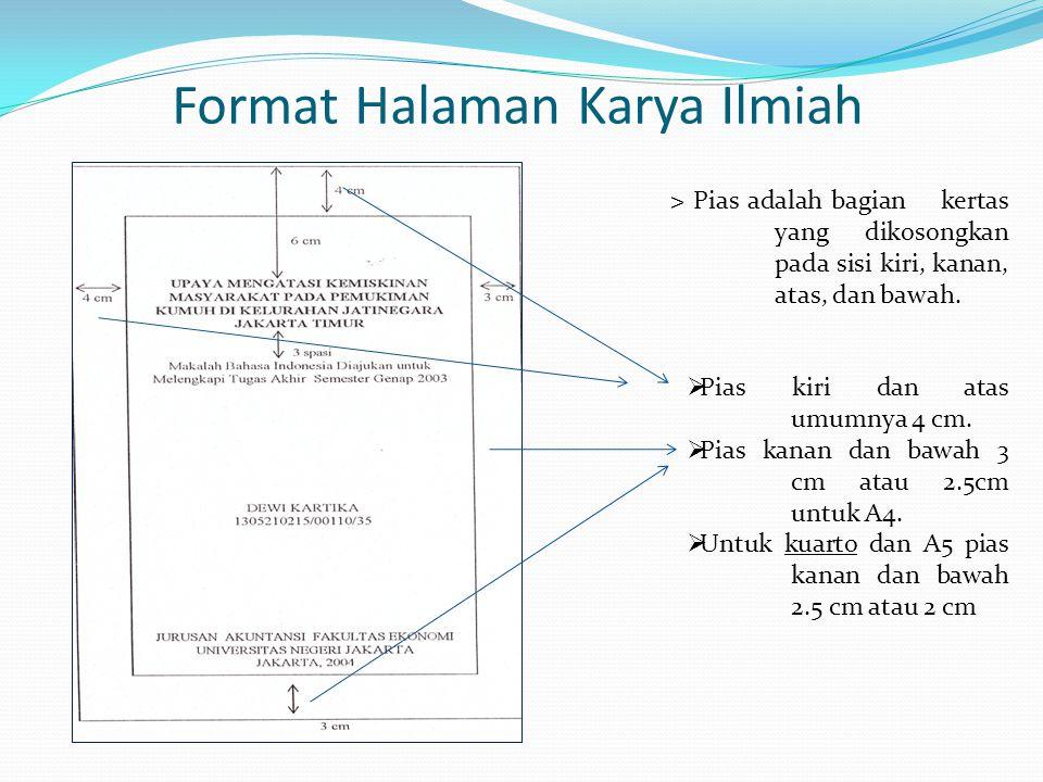 Format Halaman Karya Ilmiah