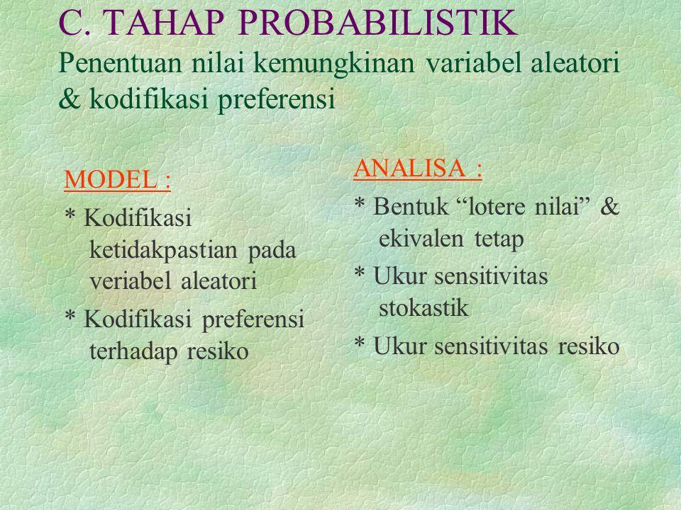 C. TAHAP PROBABILISTIK Penentuan nilai kemungkinan variabel aleatori & kodifikasi preferensi