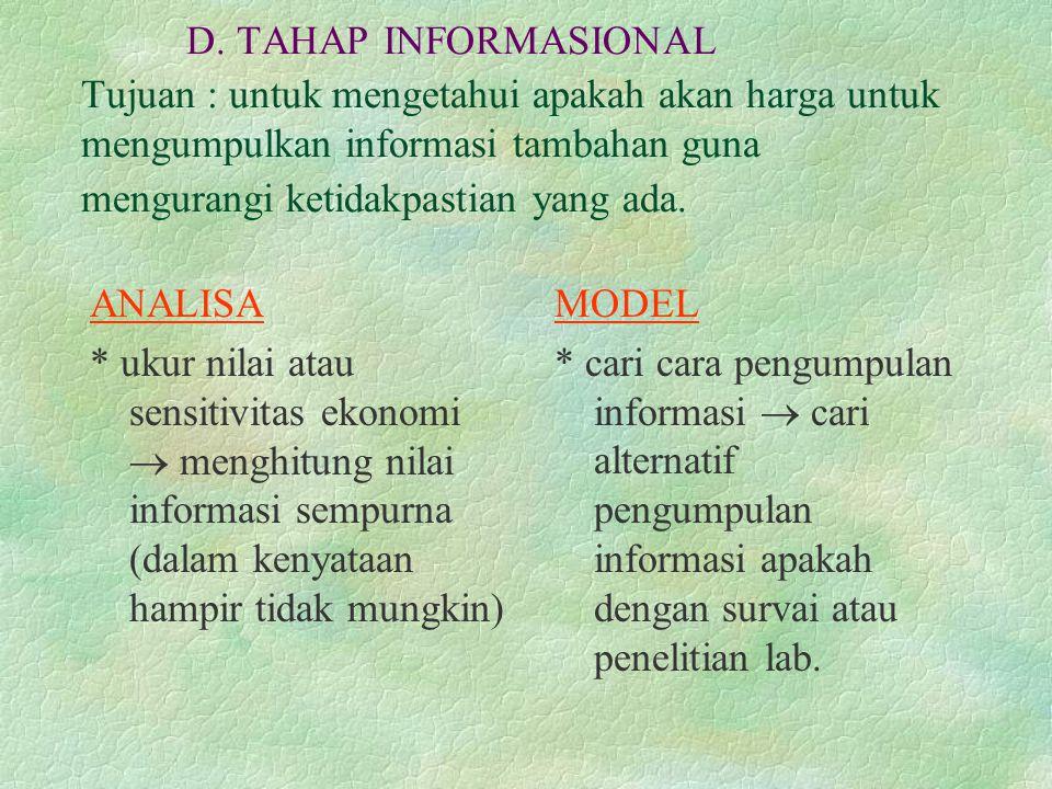 D. TAHAP INFORMASIONAL Tujuan : untuk mengetahui apakah akan harga untuk mengumpulkan informasi tambahan guna mengurangi ketidakpastian yang ada.