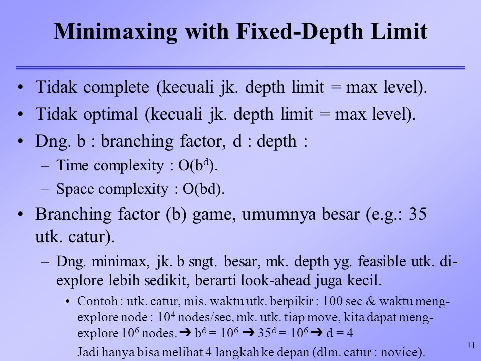 Minimaxing with Fixed-Depth Limit
