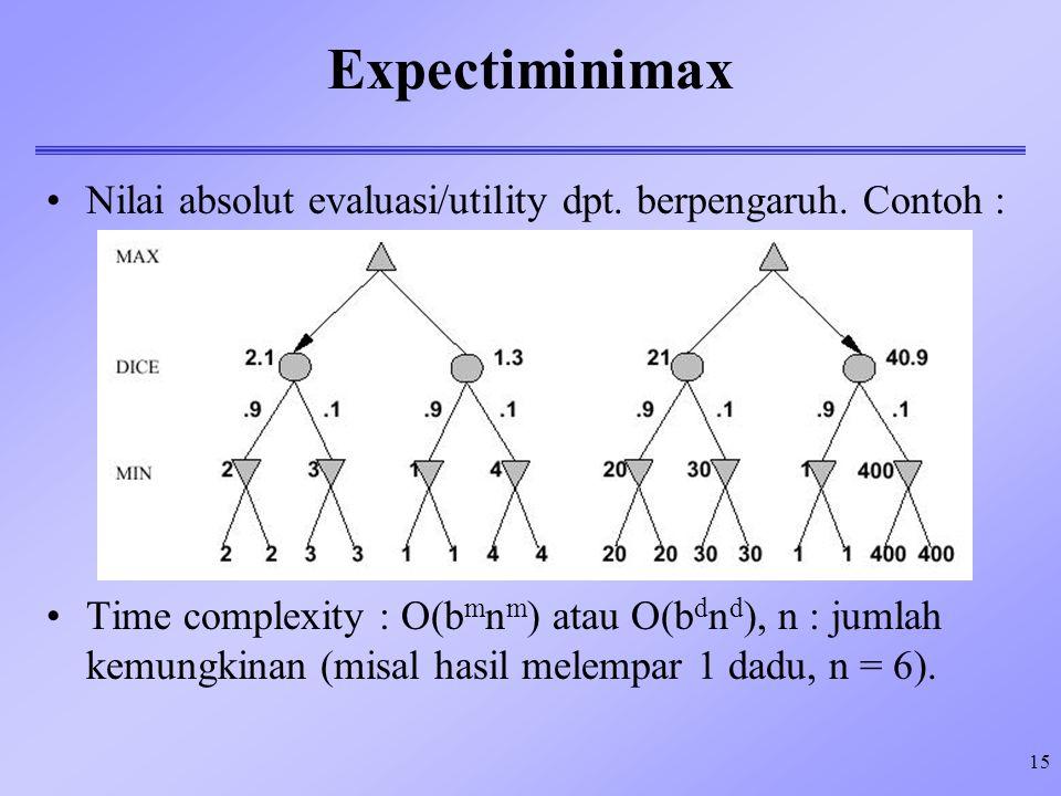 Expectiminimax Nilai absolut evaluasi/utility dpt. berpengaruh. Contoh :