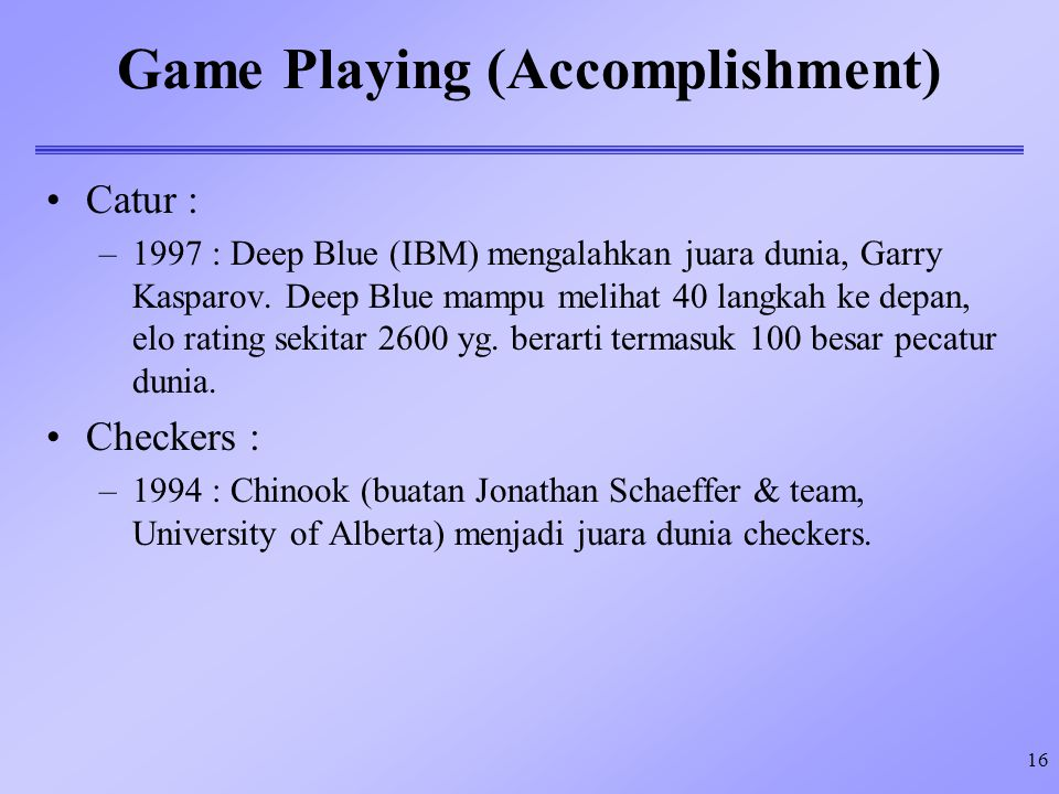 Game Playing (Accomplishment)