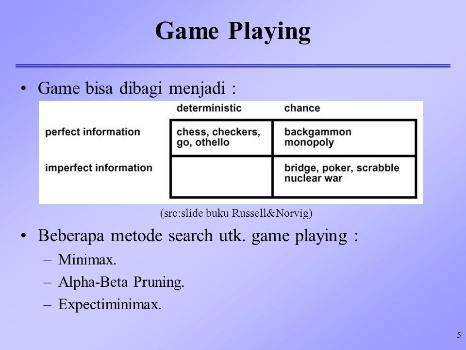 Game Playing Game bisa dibagi menjadi :