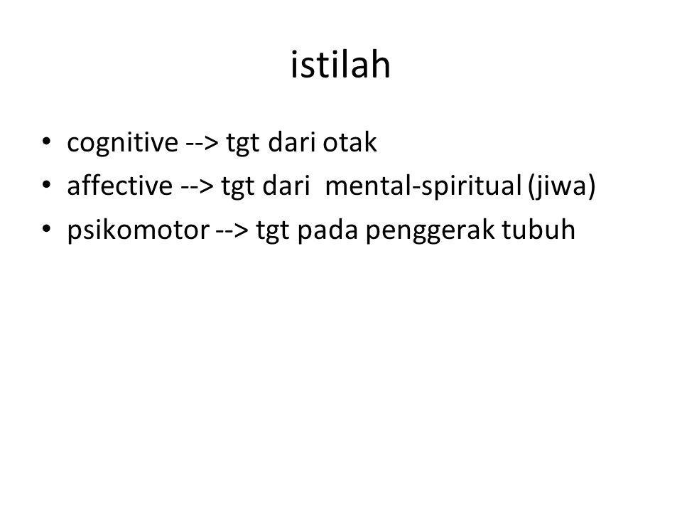 istilah cognitive --> tgt dari otak