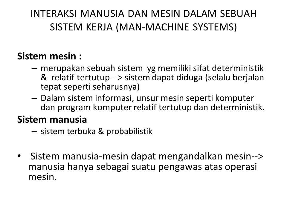 INTERAKSI MANUSIA DAN MESIN DALAM SEBUAH SISTEM KERJA (MAN-MACHINE SYSTEMS)