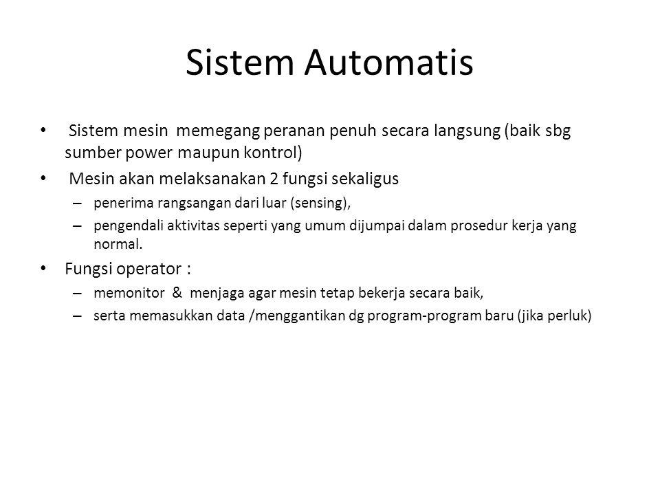 Sistem Automatis Sistem mesin memegang peranan penuh secara langsung (baik sbg sumber power maupun kontrol)