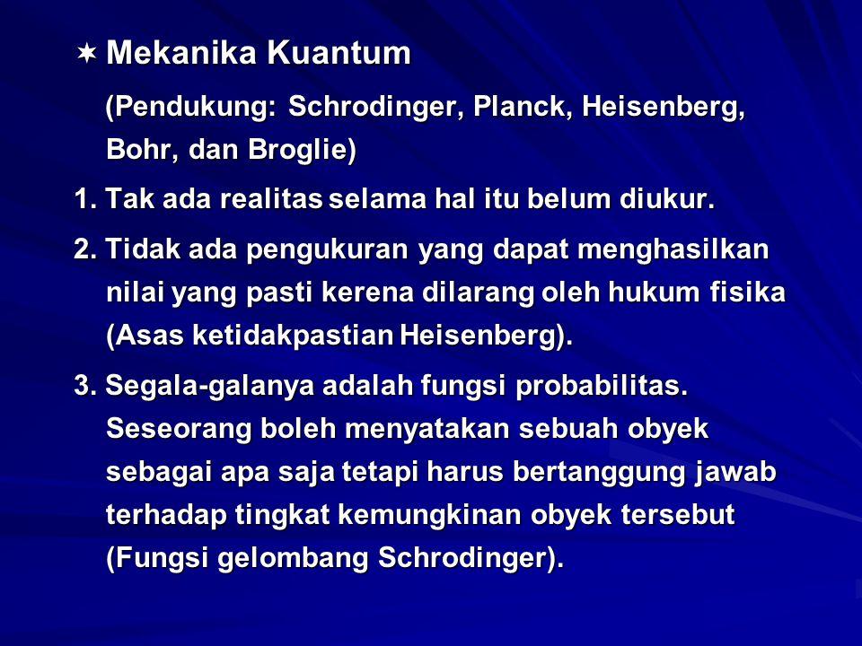 Mekanika Kuantum (Pendukung: Schrodinger, Planck, Heisenberg, Bohr, dan Broglie) 1. Tak ada realitas selama hal itu belum diukur.