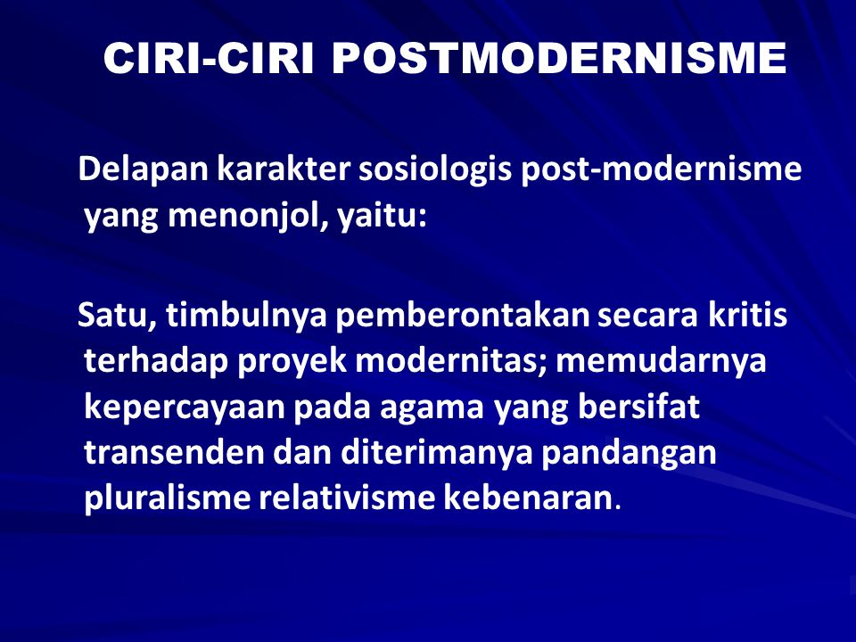 CIRI-CIRI POSTMODERNISME
