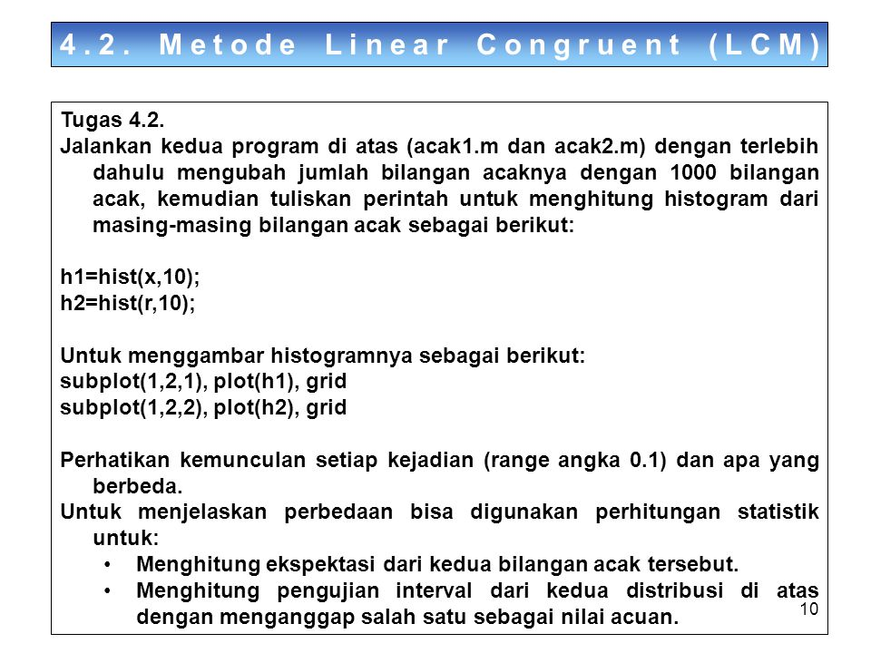 4.2. Metode Linear Congruent (LCM)