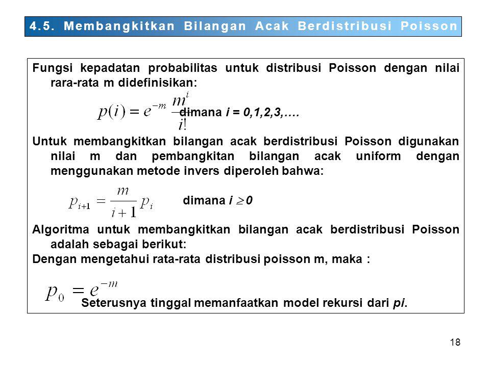 4.5. Membangkitkan Bilangan Acak Berdistribusi Poisson