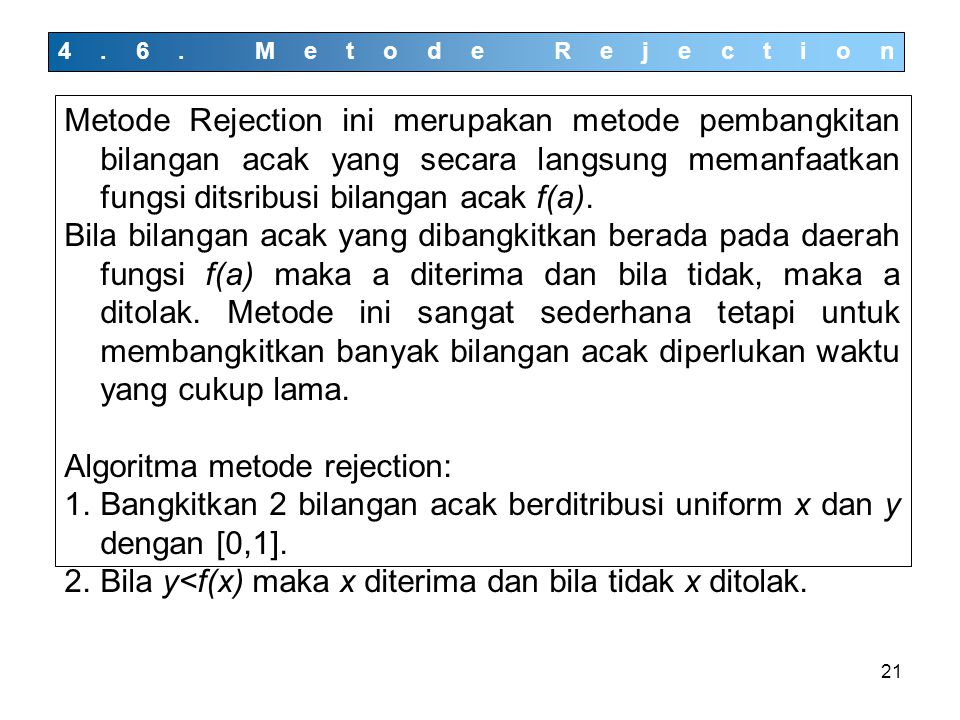 Algoritma metode rejection: