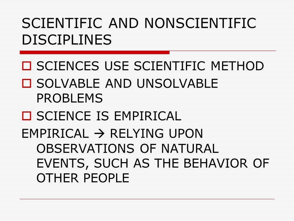 SCIENTIFIC AND NONSCIENTIFIC DISCIPLINES