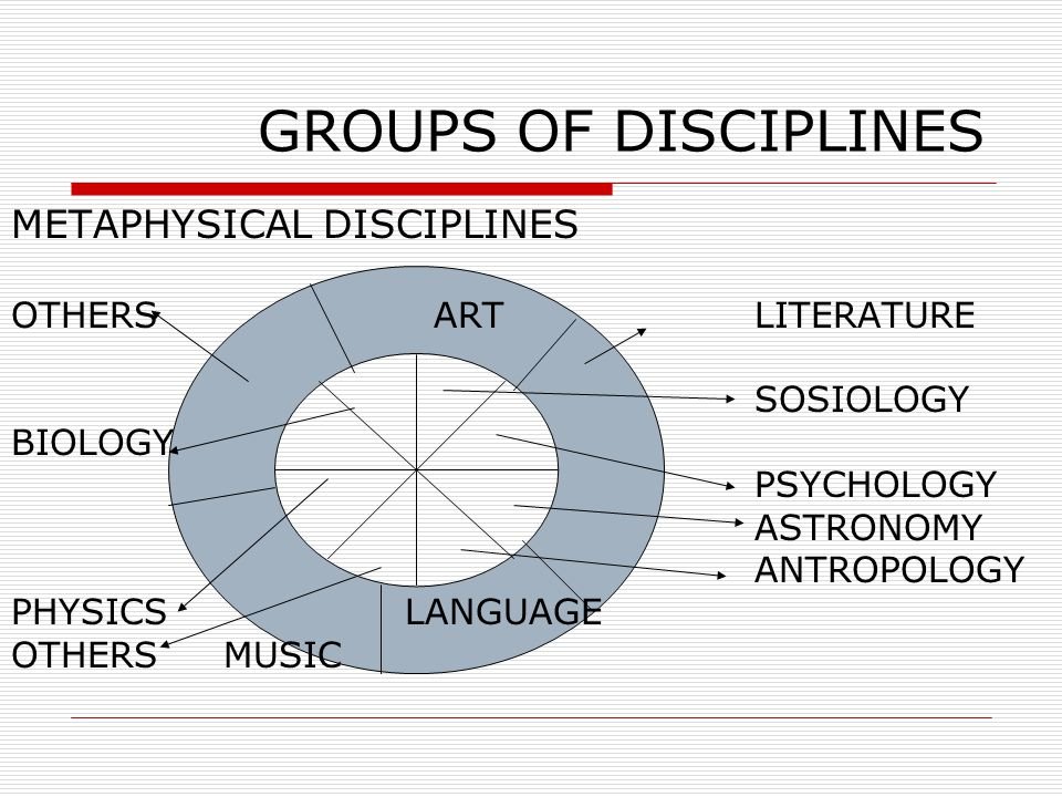 GROUPS OF DISCIPLINES METAPHYSICAL DISCIPLINES OTHERS ART LITERATURE