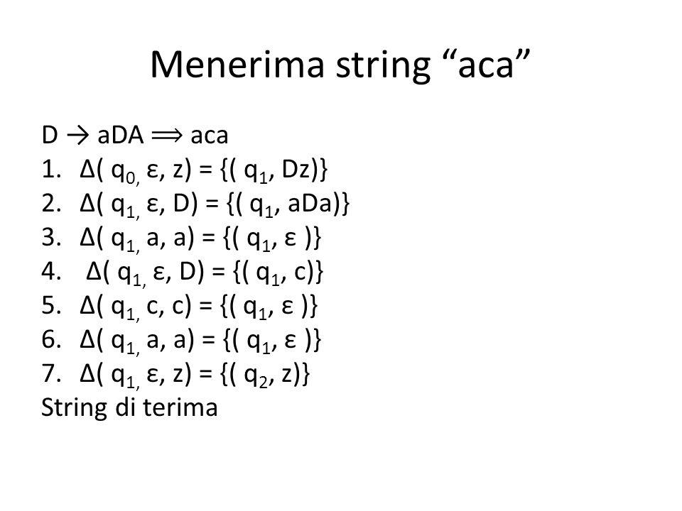 Menerima string aca D → aDA ⟹ aca Δ( q0, ε, z) = {( q1, Dz)}