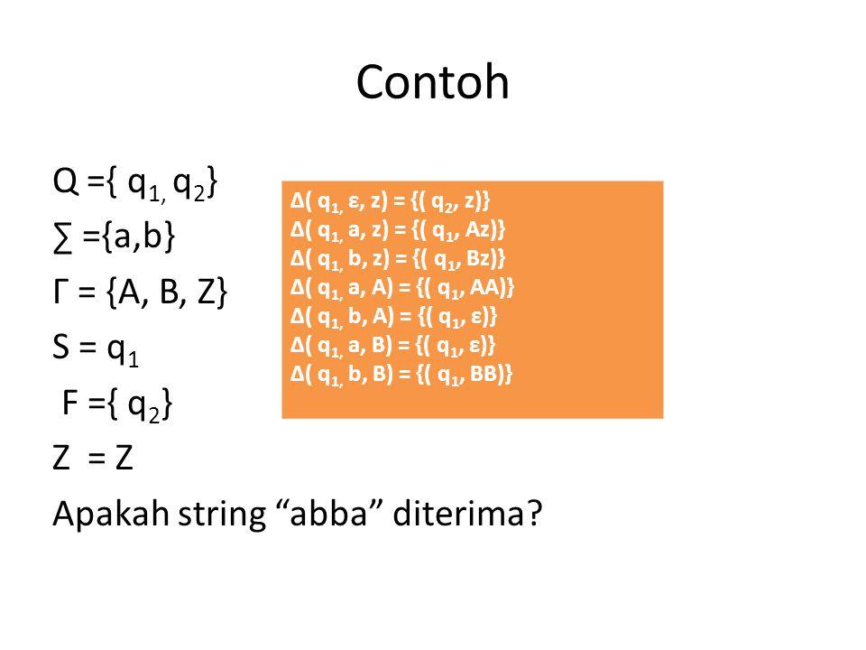 Contoh Q ={ q1, q2} ∑ ={a,b} Г = {A, B, Z} S = q1 F ={ q2} Z = Z Apakah string abba diterima Δ( q1, ε, z) = {( q2, z)}