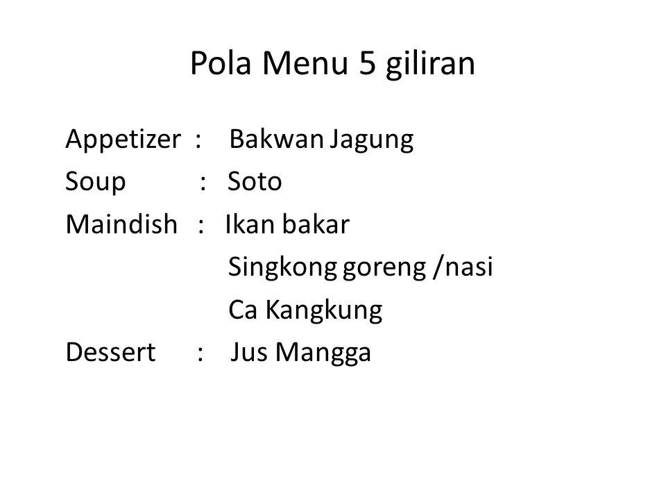 Pola Menu 5 giliran Appetizer : Bakwan Jagung Soup : Soto