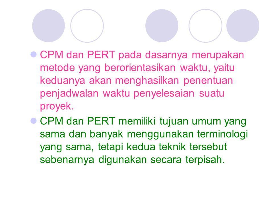 CPM dan PERT pada dasarnya merupakan metode yang berorientasikan waktu, yaitu keduanya akan menghasilkan penentuan penjadwalan waktu penyelesaian suatu proyek.