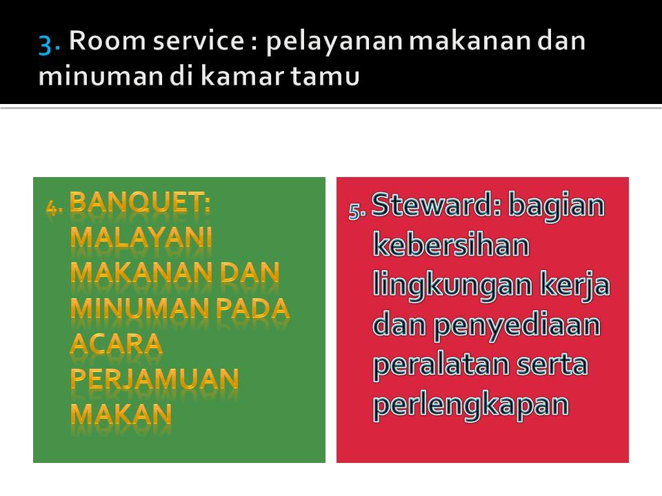 3. Room service : pelayanan makanan dan minuman di kamar tamu