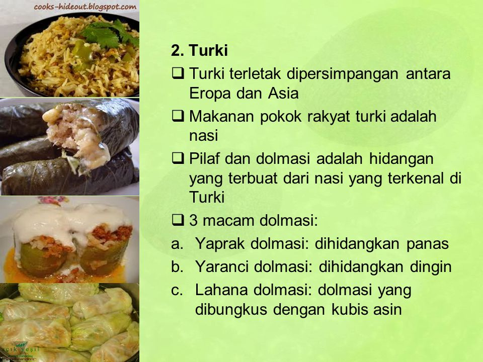 2. Turki Turki terletak dipersimpangan antara Eropa dan Asia. Makanan pokok rakyat turki adalah nasi.