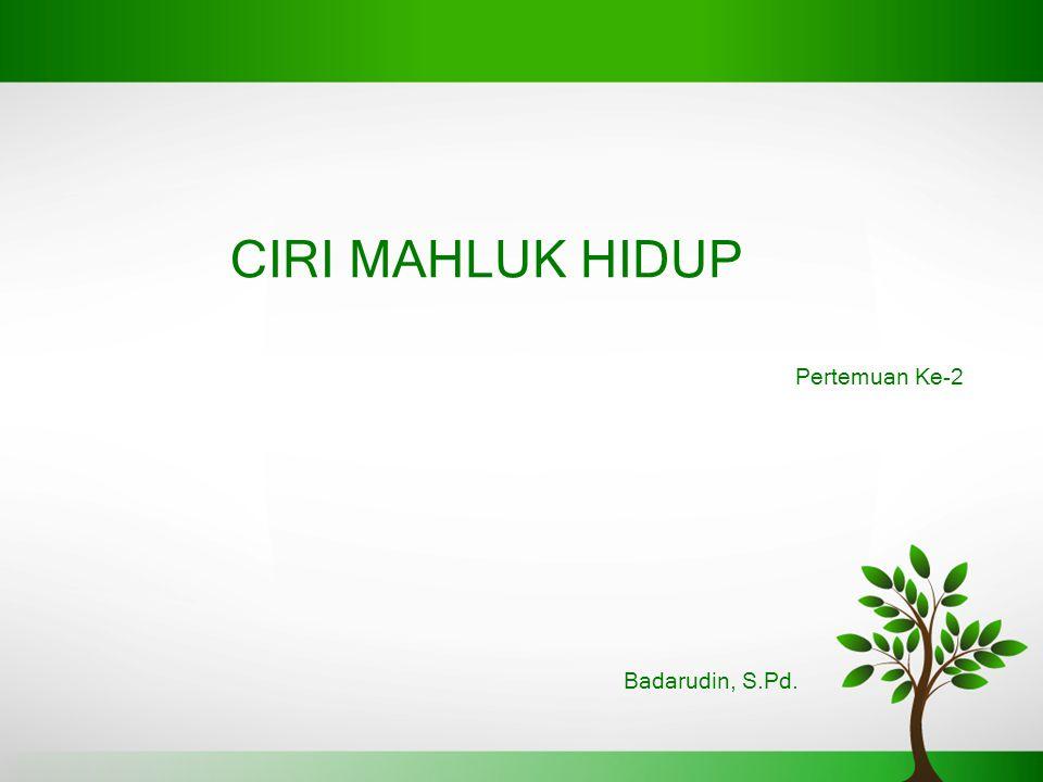 CIRI MAHLUK HIDUP Pertemuan Ke-2 Badarudin, S.Pd.