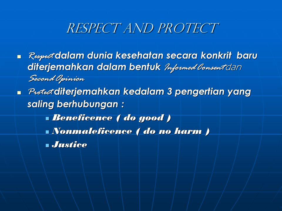 Respect and Protect Respect dalam dunia kesehatan secara konkrit baru diterjemahkan dalam bentuk Informed Consent dan Second Opinion.