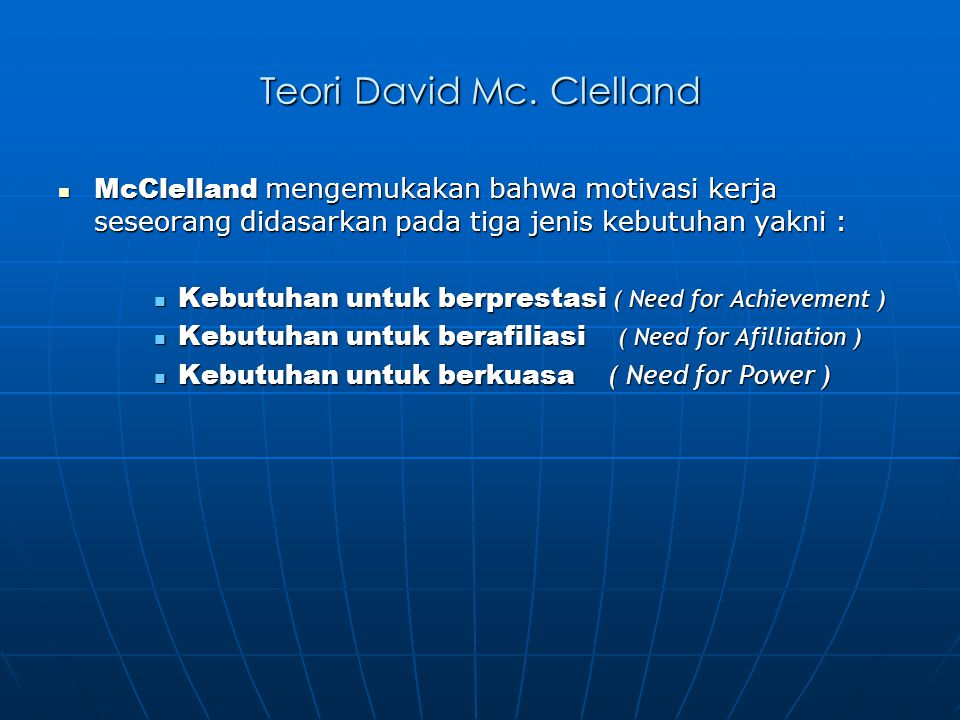 Teori David Mc. Clelland
