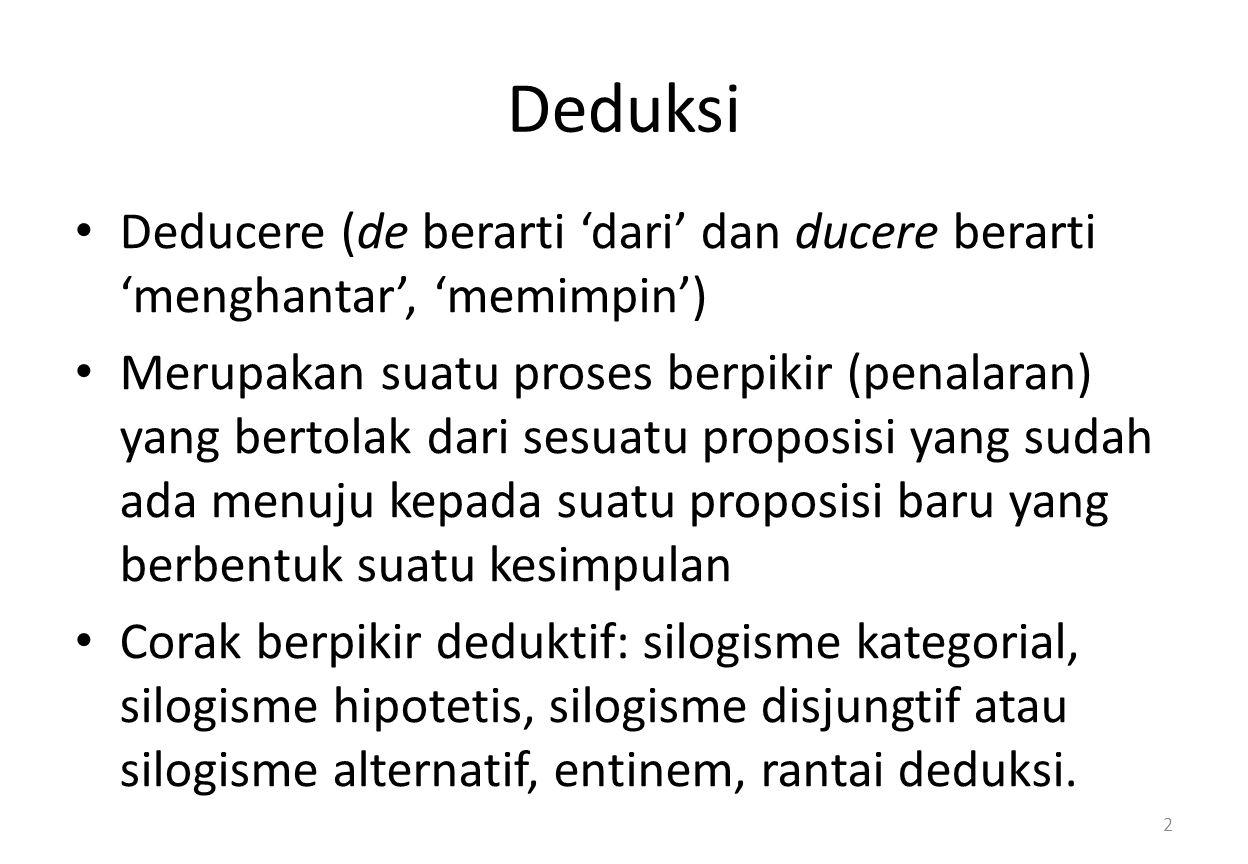 Deduksi Deducere (de berarti 'dari' dan ducere berarti 'menghantar', 'memimpin')