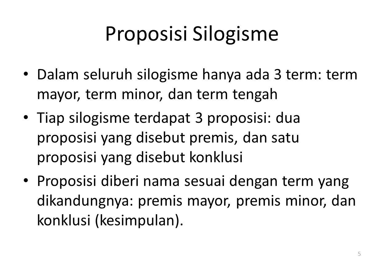 Proposisi Silogisme Dalam seluruh silogisme hanya ada 3 term: term mayor, term minor, dan term tengah.