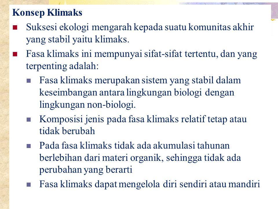 Konsep Klimaks Suksesi ekologi mengarah kepada suatu komunitas akhir yang stabil yaitu klimaks.