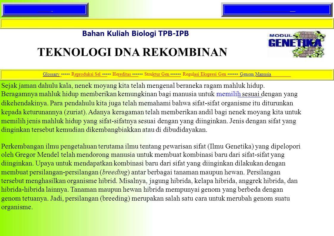 Home Text lengkap. Bahan Kuliah Biologi TPB-IPB. TEKNOLOGI DNA REKOMBINAN.