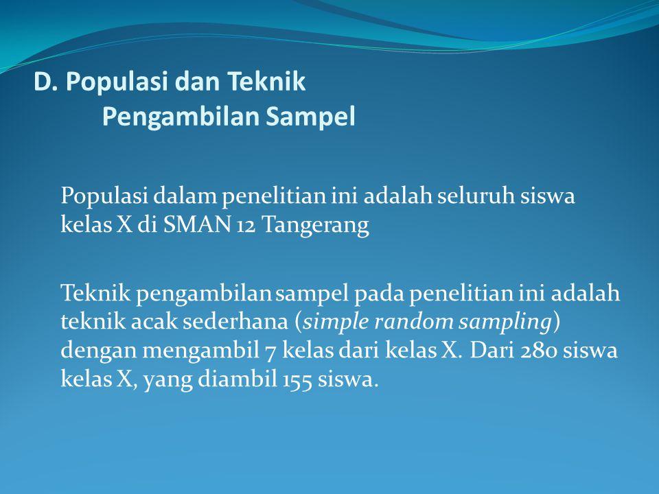 D. Populasi dan Teknik Pengambilan Sampel
