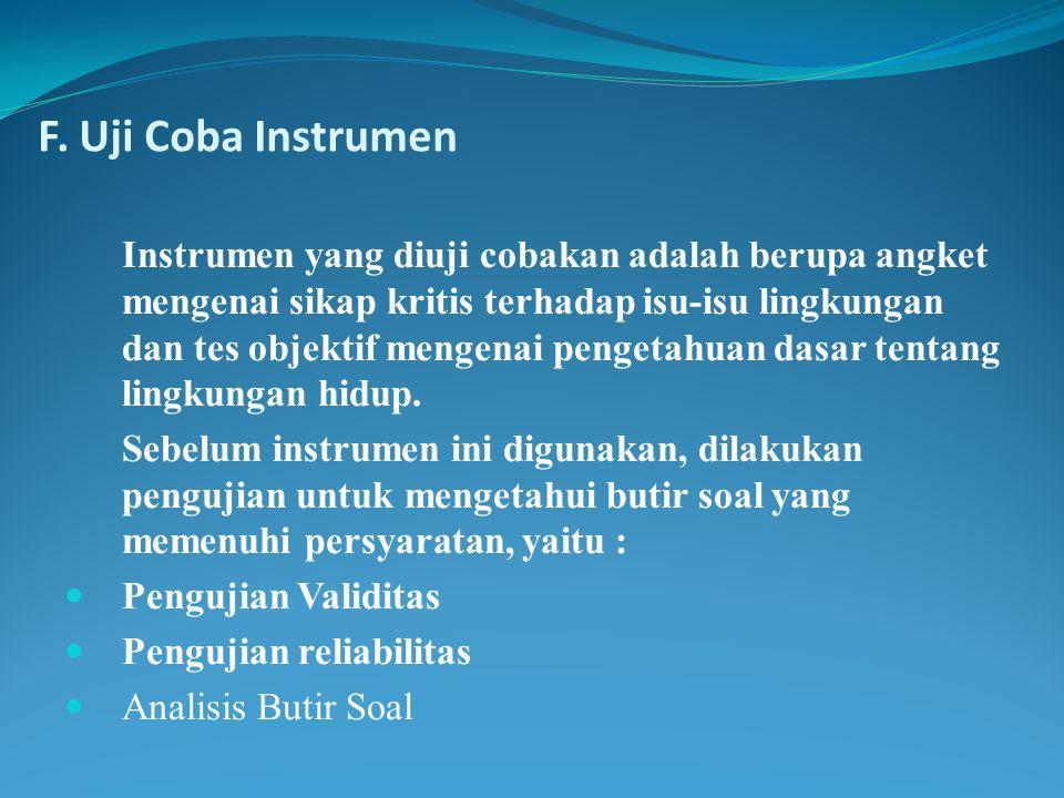 F. Uji Coba Instrumen