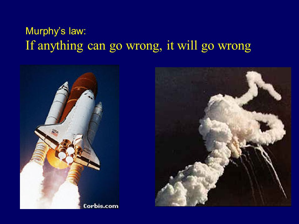 Murphy's law: If anything can go wrong, it will go wrong