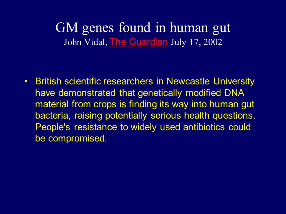 GM genes found in human gut John Vidal, The Guardian July 17, 2002
