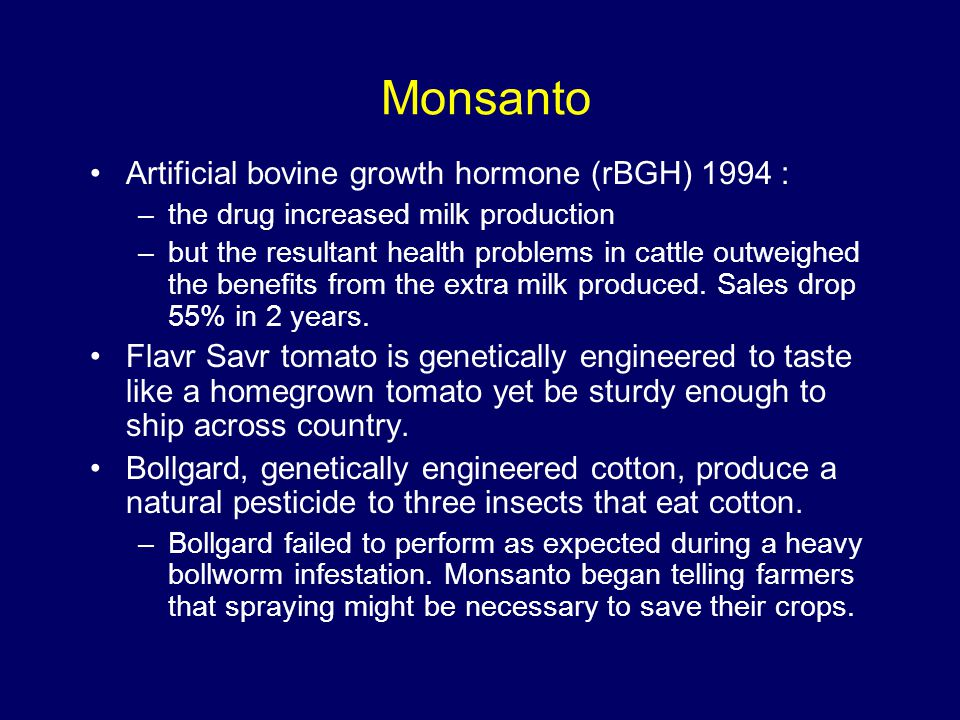 Monsanto Artificial bovine growth hormone (rBGH) 1994 :