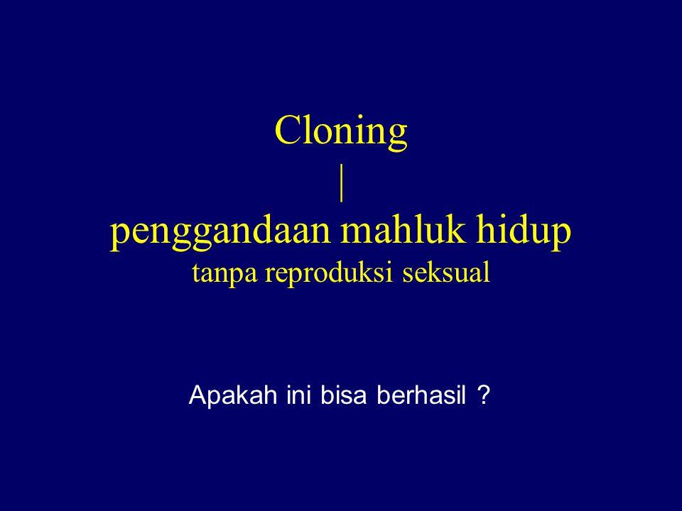 Cloning | penggandaan mahluk hidup tanpa reproduksi seksual